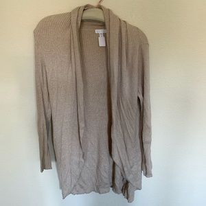 Leith open waterfall ribbed cardigan sweater